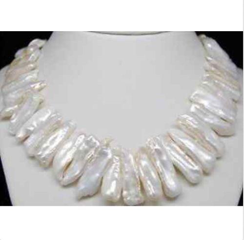 Hermoso blanco Biwa White Pearl collar encantador 18 '