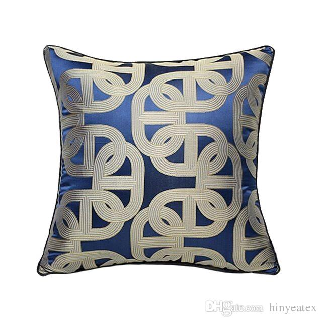 Luxuriöse zeitgenössische Königsblau geometrische Kissenbezug moderne Pipping Jacquard gewebt Home Boden Sofa Throw Kissenbezug Platz 45x45cm