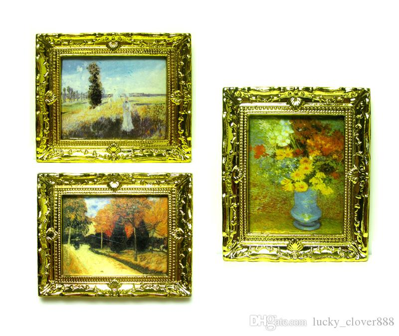 1:12Doll House Miniature Gold Frame Art Wall Picture Autumn Scenery Oil Painting