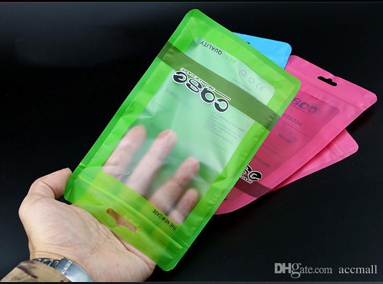 iPhone X 8 7 6 Plus 4.7 5.5 inç için Renkli OPP PP, PVC Poly Çanta Plastik Ambalaj Mat Kilitli Perakende Ambalaj Torbaları Telefon TPU Kılıf