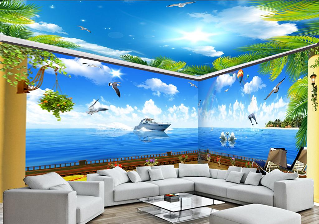 Custom Retail 3d Beach Full House Background Wall Blue Sea Air Boat Dolphin Hot Air Balloon Flying Bird Mural Free Nature Wallpaper Free Pc Wallpaper From Yunlin188 15 28 Dhgate Com