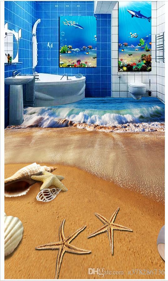 Carta da parati 3D personalizzata in PVC carta da parati per pavimenti in carta da parati Impermeabile Adesivo da parete per pavimenti Adesivo per bagno Wave Beach Shell Pavimentazione 3D