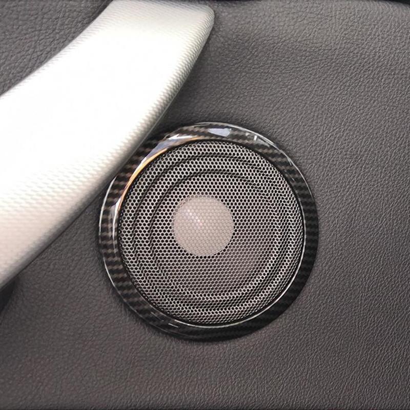 4pcs Estilo Car Carbon Fiber Porta de áudio Speaker Círculo tampa da guarnição para a BMW Série 3 3GT F30 2013-18 chifre anel Decoração decalques