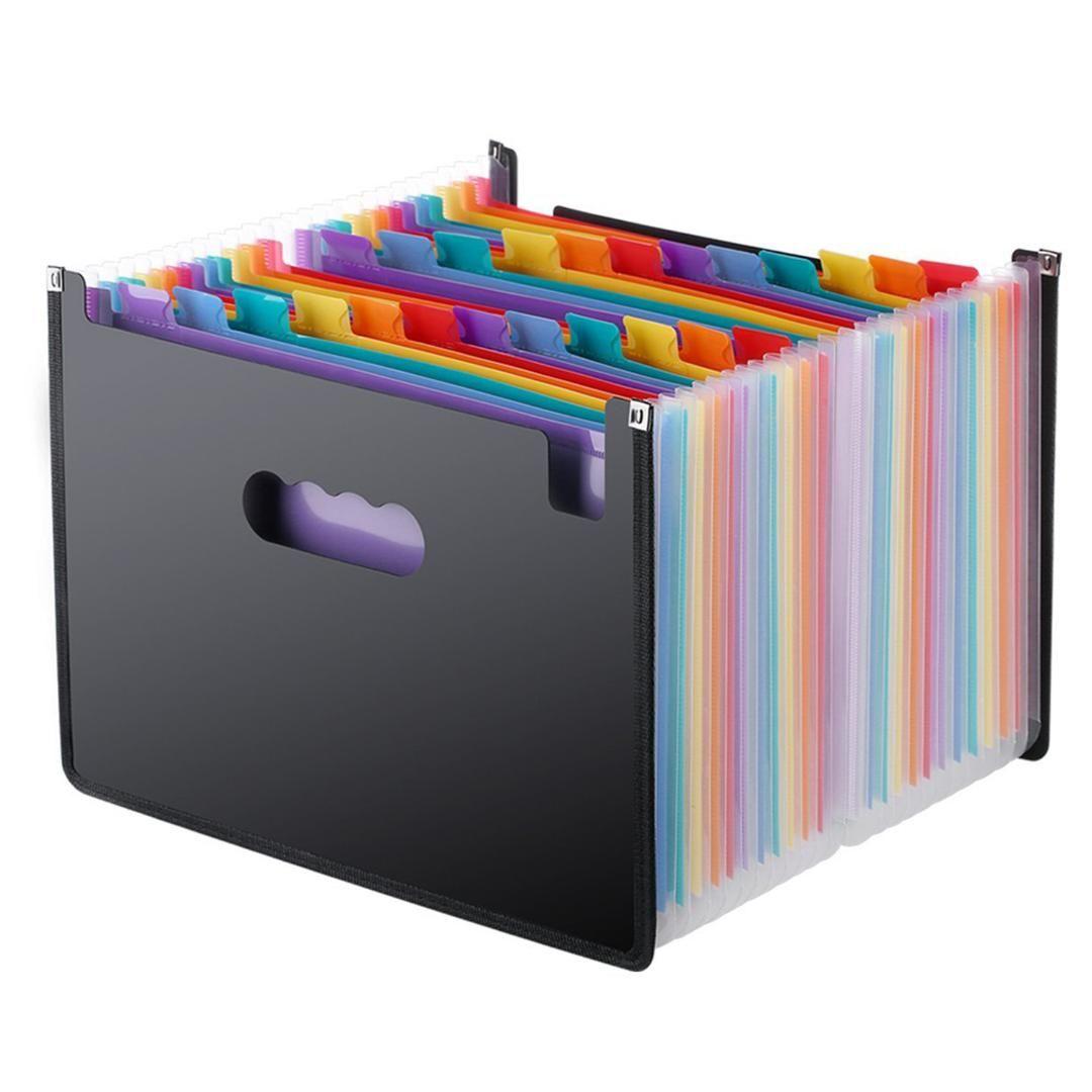 BLEL Hot Expanding File Folder 24 Pockets، Black Accordion A4 folder