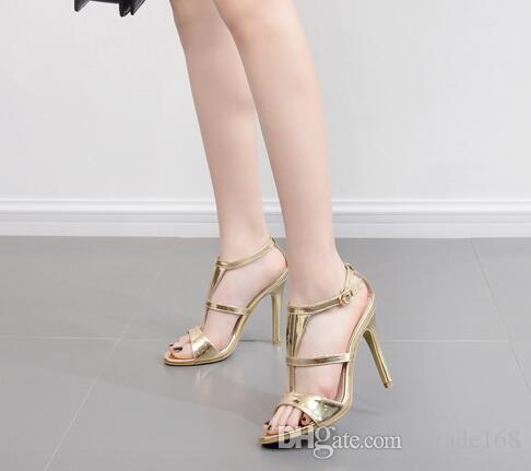 Scarpe americane di T-belt delle nuove donne di modo americano europeo Belle con le scarpe delle donne dell'oro col tacco alto Trasporto libero