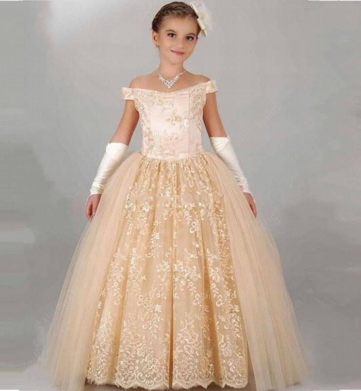 Champagne New Charme Flower Girl Dresses Wedding Party Dress Ball Gown Princess Pageant Kids Occasioni formali Bambini Dress GHTZ16