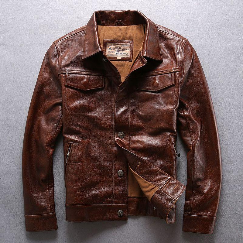 AVIREXFLY marrom vermelho genuíno jaquetas de couro lapela pescoço vaca jaqueta de couro para homens motocicleta Casacos com único breasted