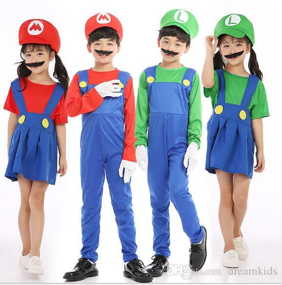 2020 Children Mario Bros Cosplay Costume Plumber Fancy Dress Mario