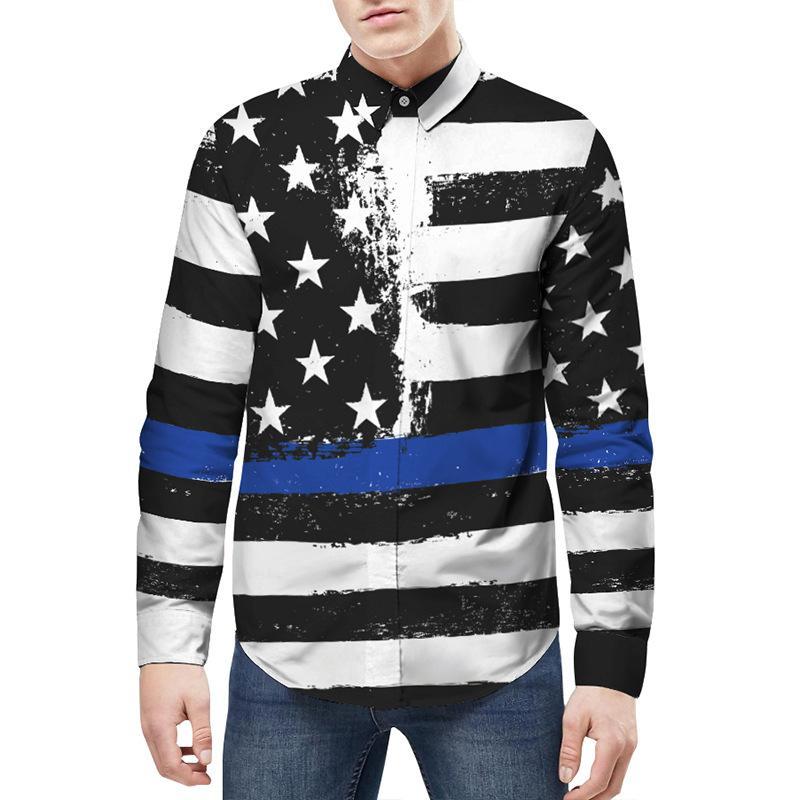고품질 남성 패션 셔츠 별 줄무늬 인쇄 뚱뚱한 남자 셔츠 blackwhite 레저 성격 긴 소매 셔츠 플러스 크기