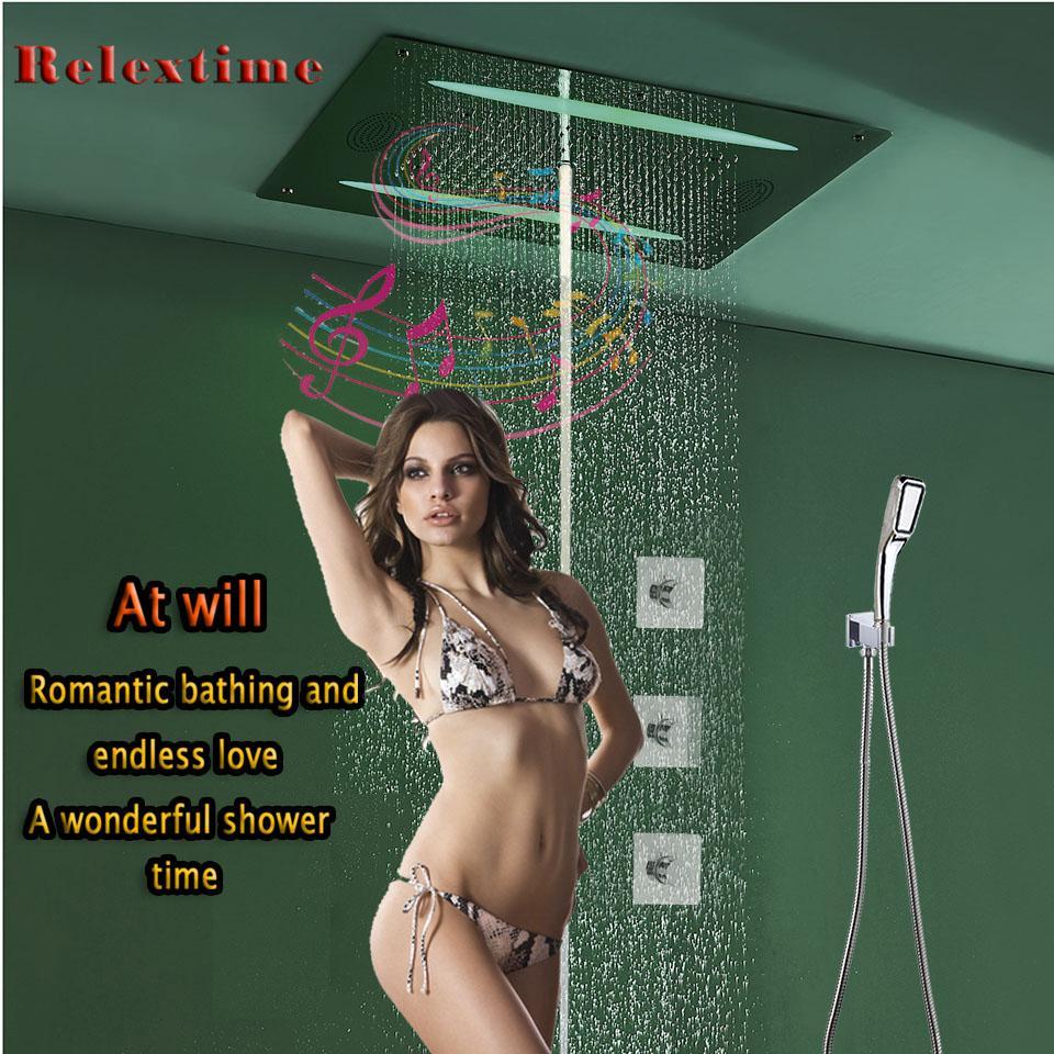FM 라디오 블루투스 LED 천장 샤워 헤드 비 거품 안개 샤워 꼭지와 울트라 Luxur 대형 흐름 온도 조절 밸브