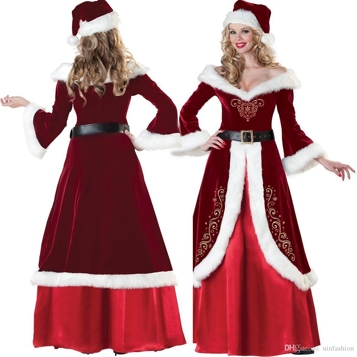 Hot Women Sexy Christmas Cosplay Costumes Festival Party Dress Uniform Santa Clause For Women Sexy Long Dress