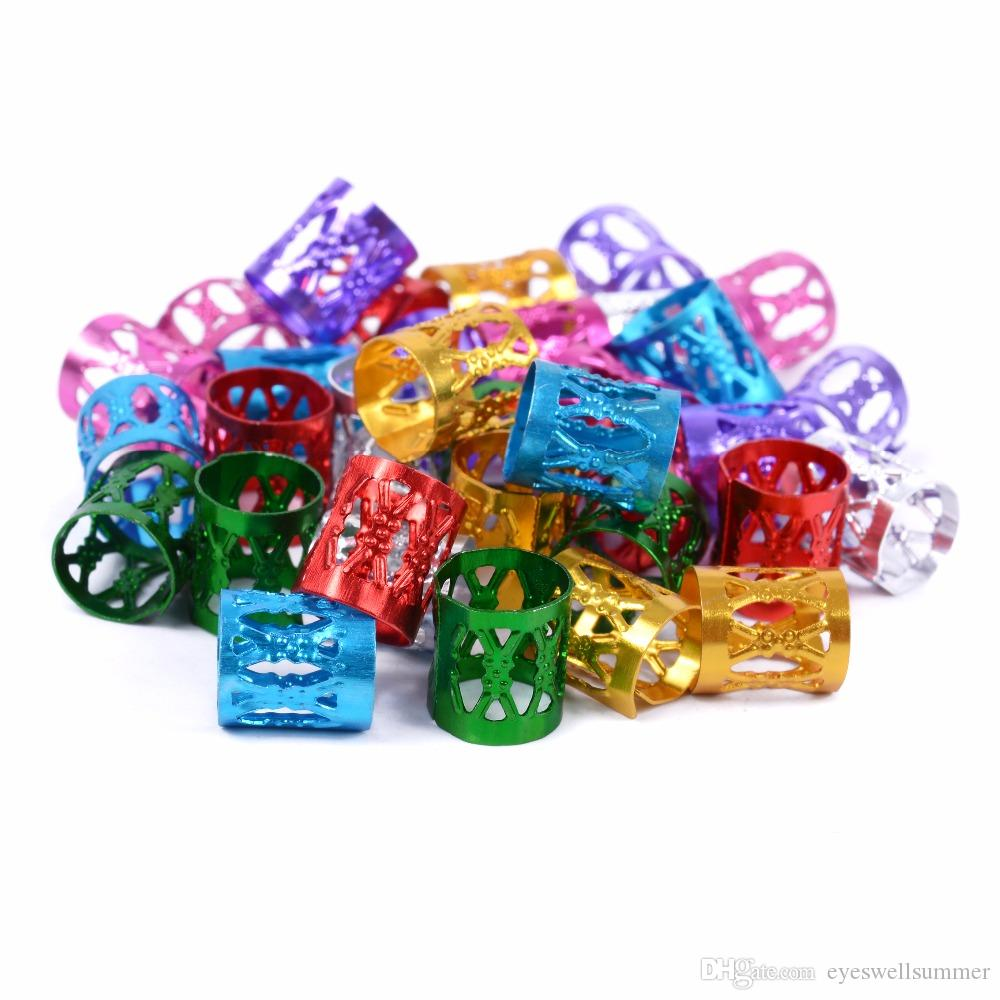 100 UNIDS / Bolsa Colorido Trenzado Del Pelo Perlas de Pelo Trenza Tubo Anillos Cuff Styling Herramientas de Decoración Pelo Trenzado Dreadlock Accesorios