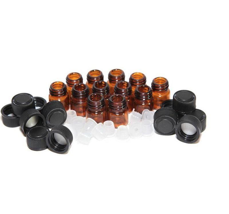 Comercio al por mayor 2000 unids 1 4 Dram 1 ml Mini botellas de vidrio pequeños frascos de vidrio de color ámbar con el casquillo reductor del orificio Stock grande