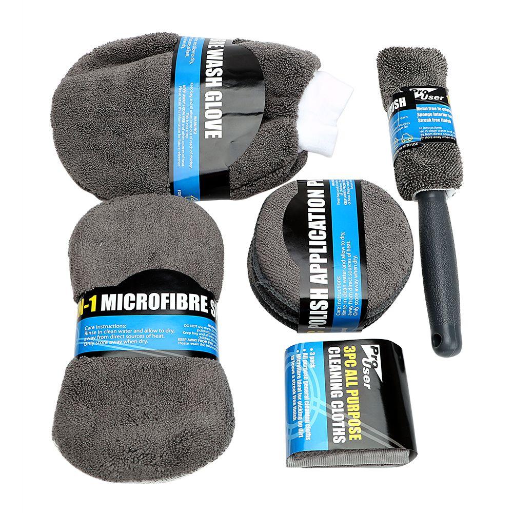 9 sztuk Zestaw do mycia samochodów z mikrofibry obejmuje 3 * ręczniki z mikrofibry, 3 * podkładki aplikatorowe, gąbka do mycia, rękawica do mycia, szczotka koła
