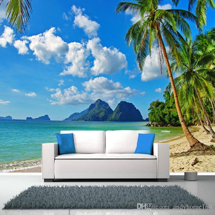 Arkadi Southeast Asia Seaside Landscape Customize Personality 3D Mural Beach Trees Wallpaper Living Room Sofa Backdrop Mural Wall Paper