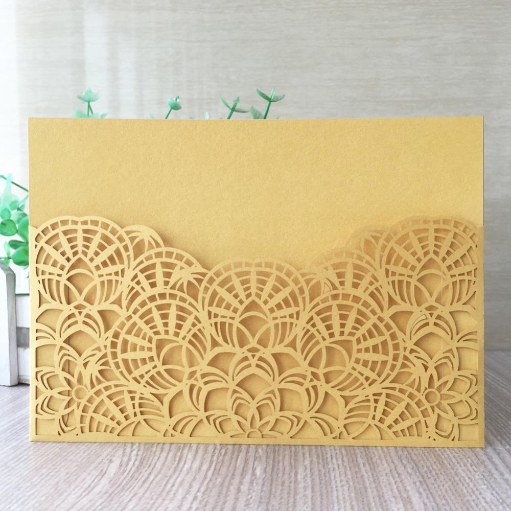 Inviti di nozze di invito di carta intagliati Fanshaped Chic 45pcs Ringraziamenti regalo Biglietti di compleanno di ricompensa