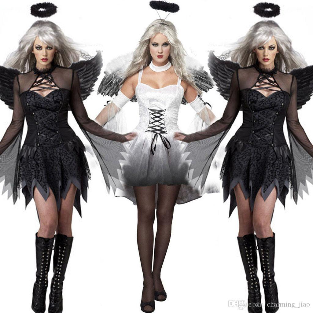 새로운 블랙 다크 데블 타락한 천사 의상 윙 섹시한 성인 코스프레 이국적인 의상 할로윈 의상 여성을위한