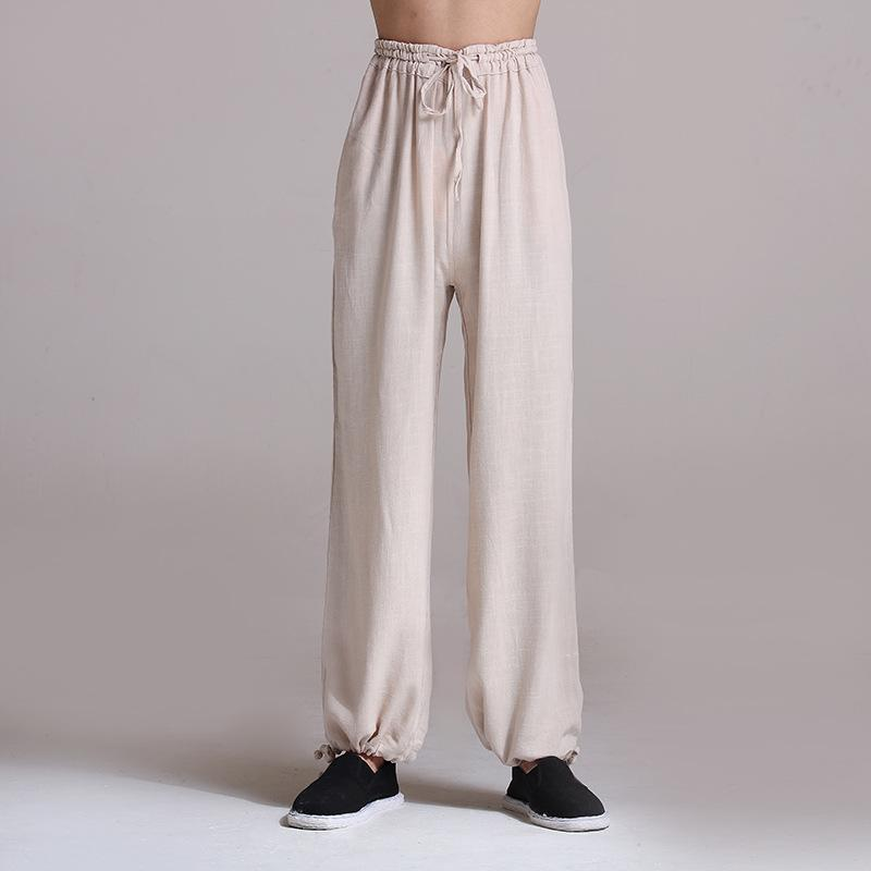 Fashion Mens Cotton Linen Chinese Style Casual Trousers Long Slim Skinny Pants