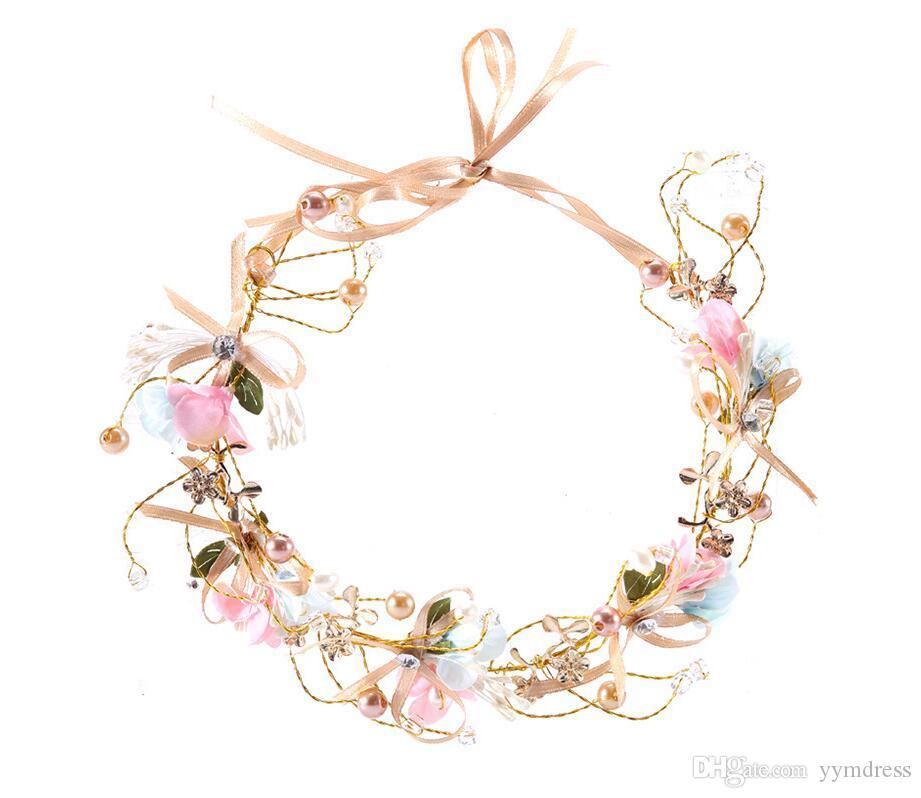 Vintage Bridal Hair Flowers Rhinestone Wedding Queen Crowns Princess Crystal Baroque Birthday Party Tiaras For Bride Sweet Flowers
