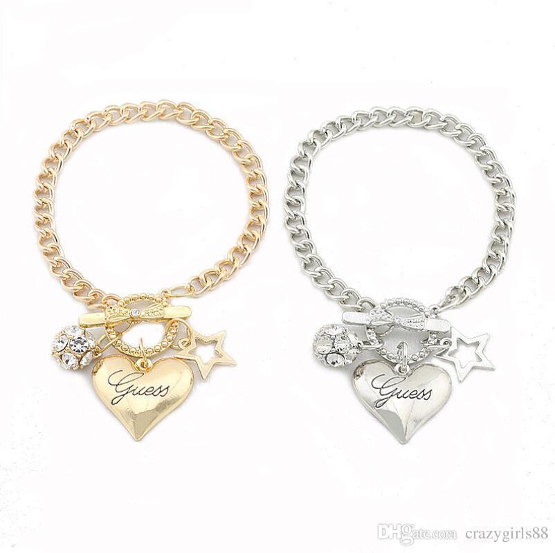 New Brand design pentagram love heart charm bracelets crystal ball gold silver color chain bangle bracelet for women lady girl jewelry gift