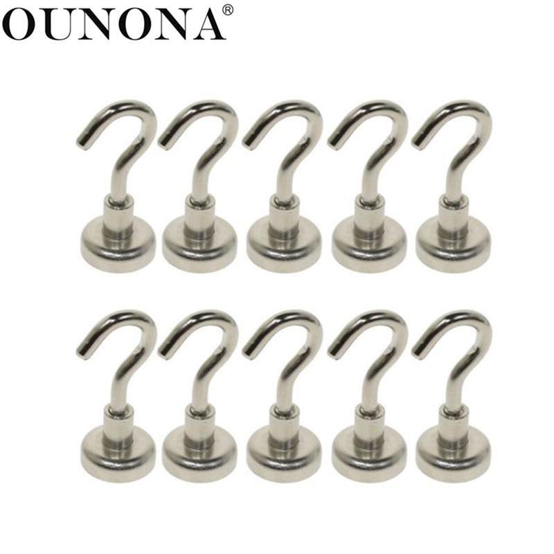 OUNONA 10 Pcs Magnetic Hooks Power Hook Magnet Holder Super Heavy Neodymium Rare Earth 5.5kg Suction For Cup Key
