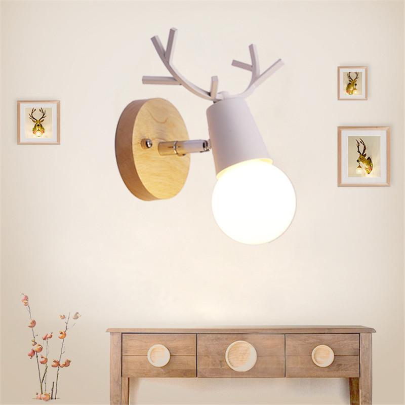 Mrosaa 220 V E27 Nordic Antler Lâmpada de Parede Criativo Arandela de Parede de Madeira Levou Luz para o Quarto Sala Corredor Decoração Da Sua Casa