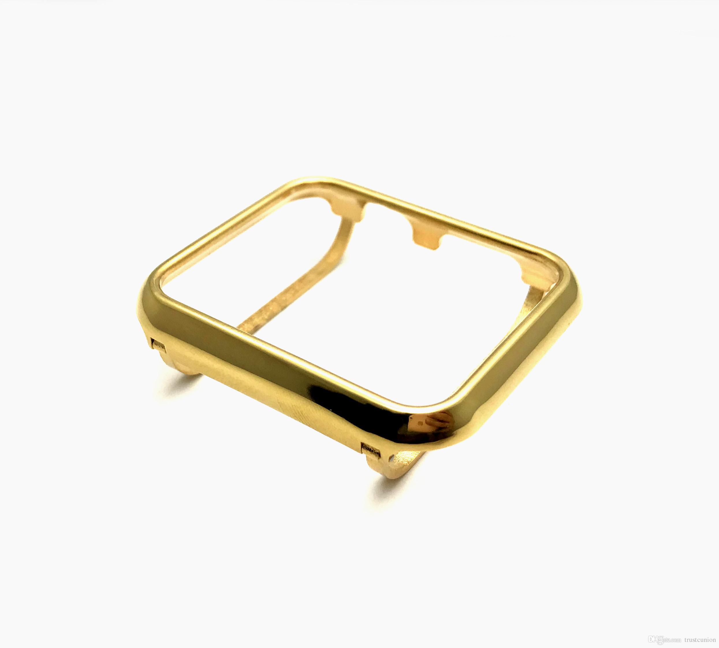 Caja de bisel de metal chapado en oro de 24 K para Apple Watch iWatch S1 / S2 / S3 SportsEdition Reloj para el tamaño más grande de oro / 42 mm
