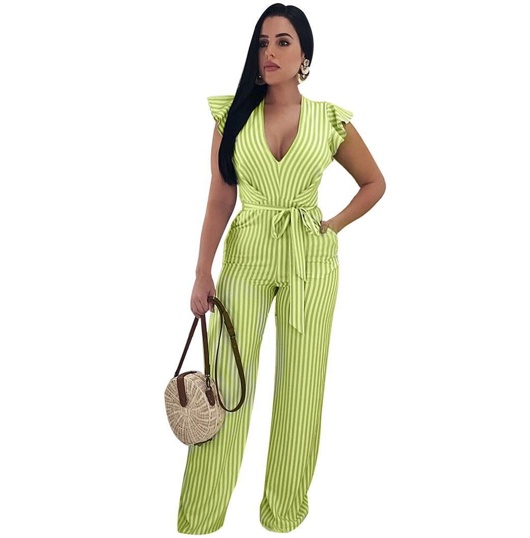 2020 Женщины V шеи Полосатая Комбинезон рюшами рукава Backless Длинные брюки Romper Эпикировка с поясом освобождает перевозку груза Q101