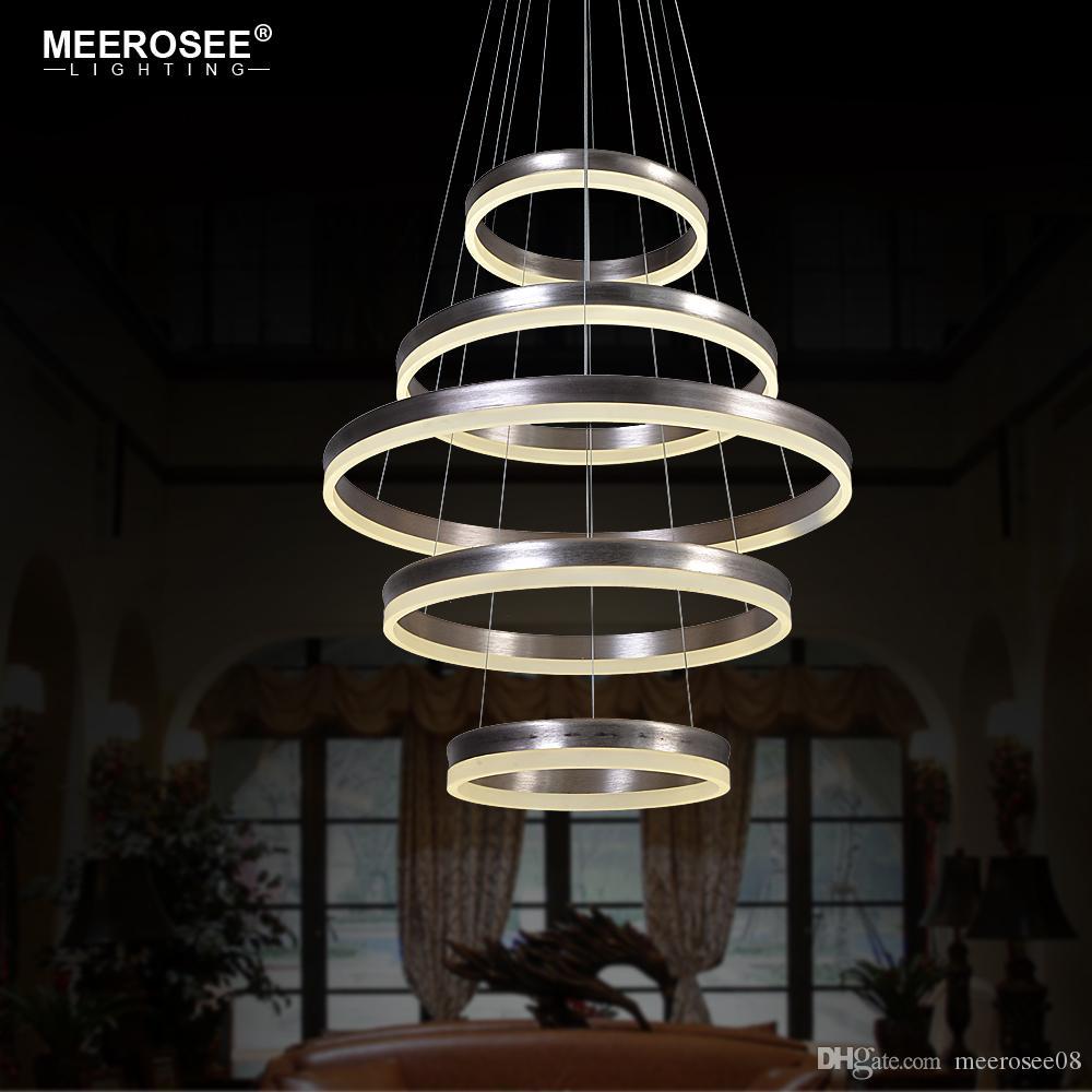 Modern LED Pendant Lights 5 Circle Rings Pendant Lamp For Foryer Living room Creative LED Lustre Hanging Home Luminaires