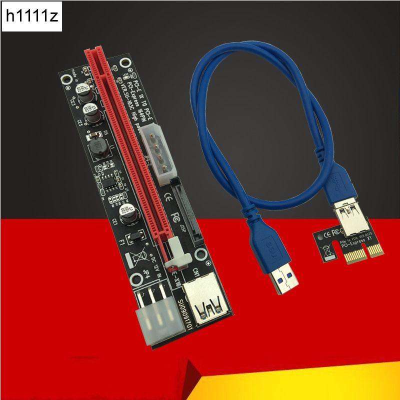 New 3 in 1 Molex 4Pin SATA 6PIN PCIE PCI-E PCI Express 16x Slot Riser Card 1x to 16x USB 3.0 Cable For Bitcoin BTC Miner Mining