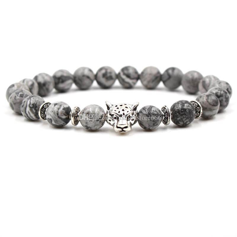 Moda grigio agata bracciali lega gufo leopardo leone animale bracciali elastico perline braccialetti per regalo unisex
