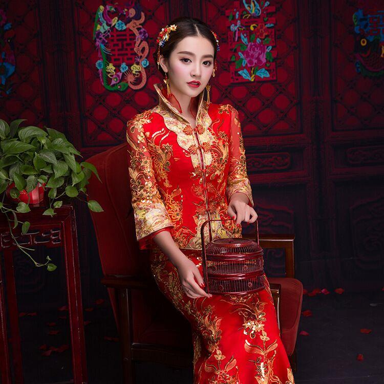 estilo Vestido Mulheres Floral Red Long Sleeve Bordado Cheongsam Robe Qipao Noiva asiática Beleza oriental chinesa tradicional casamento