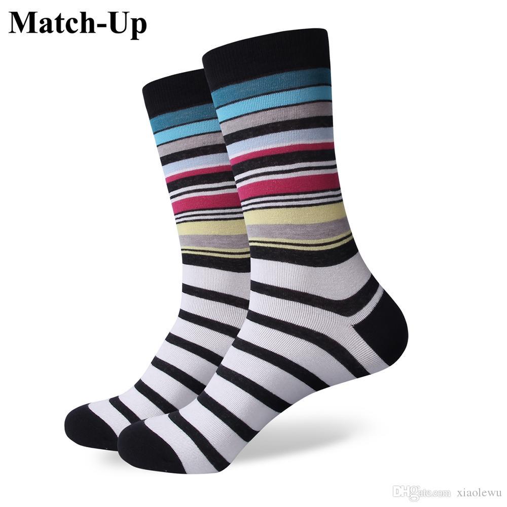 2016 meias masculinas de algodão penteado dos homens marca, colorido xadrez lazer meias, tamanho dos EUA (7.5-12) 319