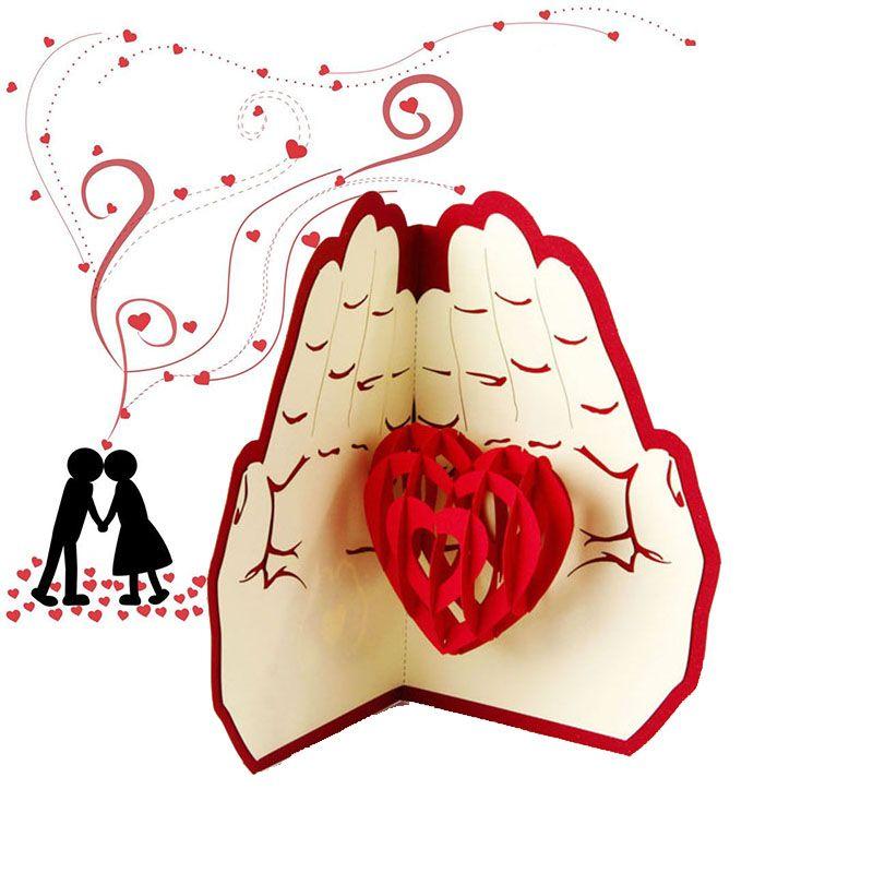 Новые любовь в руке 3D всплывающее Поздравительная открытка День Святого Валентина юбилей День рождения Рождество свадьба открытки открытки подарки WX9-266