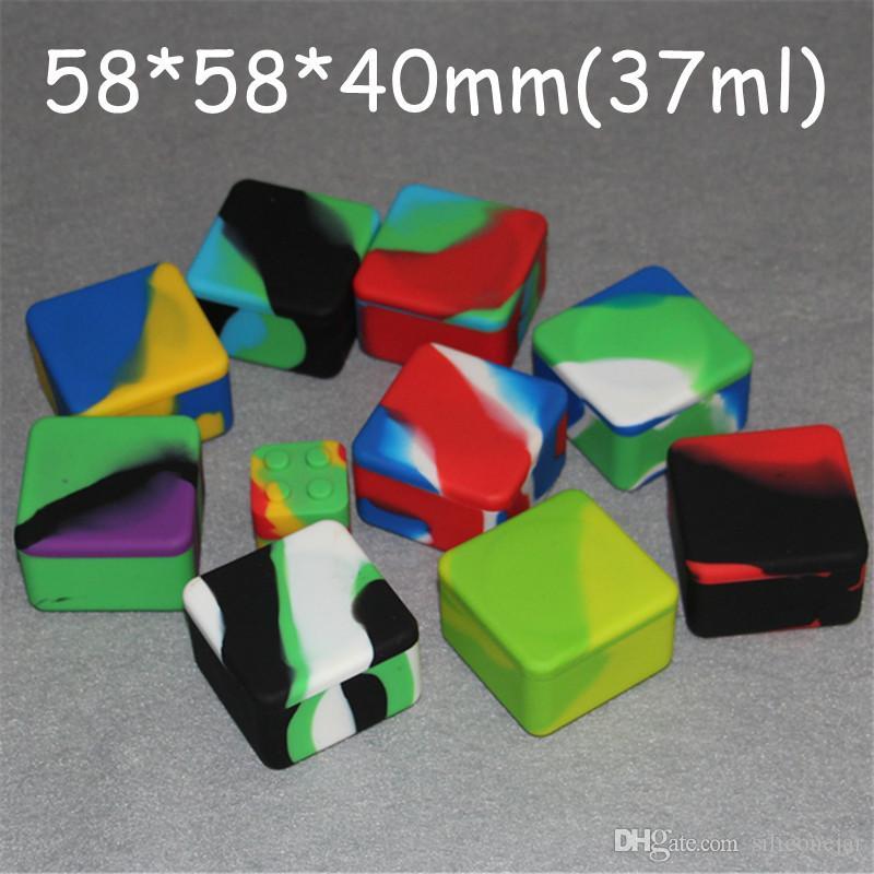 Recipientes de cera antiaderta caixa de silicone silicone quadrado recipiente grande cera frascos pratos tapetes dabber ferramenta grande jar vaping fdA aprovado