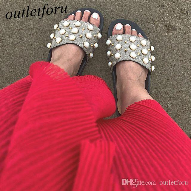 fashion Pearl effect and gold-toned studs Slides sandals mens womens summer outdoor beach causal slippers indoor flip flops with box