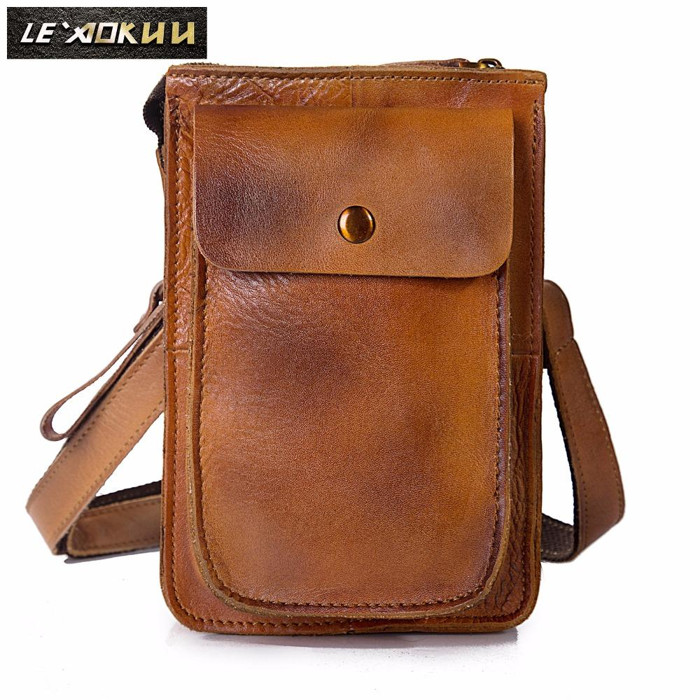 "Quality Leather Multifunction Casual Daily Fashion Small Messenger One Shoulder Bag Waist Belt Bag 6"" Phone Pouch 021lg"