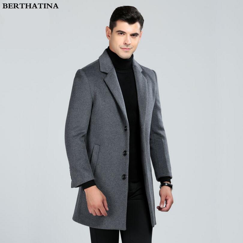 2018 New Autumn Winter Men Fashion Boutique Solid Color Business Casual Long Section Woolen Coat Men High-end Brand Leisure Coat