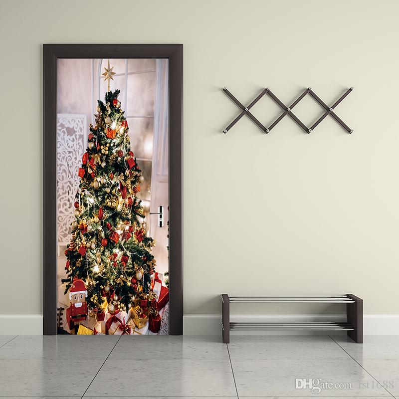 YMT155 2pcs/set Merry Christmas Door Stickers Wallpaper Festival Xmas Tree Mural Art Party Living Room Shop Home Decor Living Room Decals