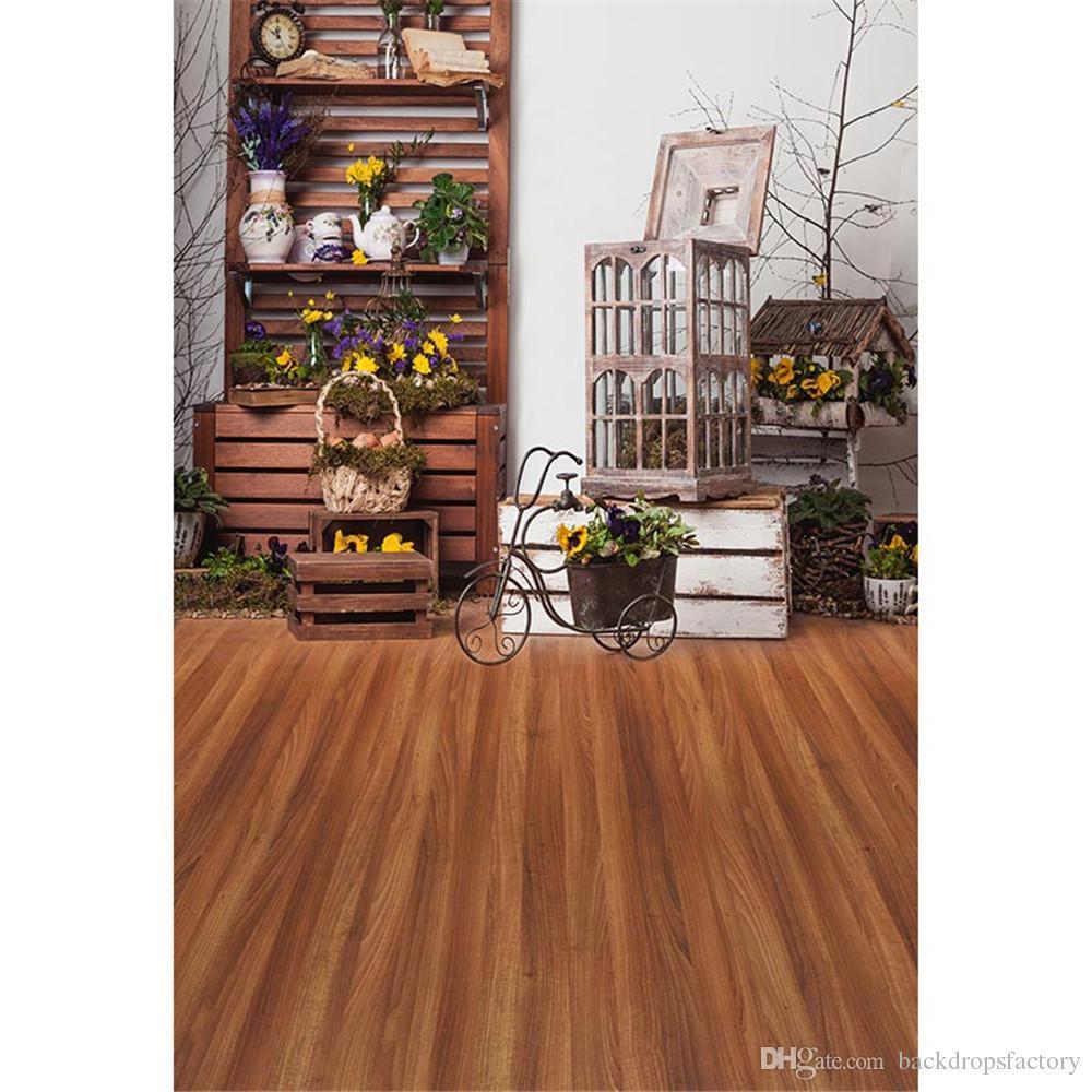 Interior del bebé fotografía telones de fondo impresos casos de madera Retro triciclo amarillo púrpura flores niños foto fondos piso de madera