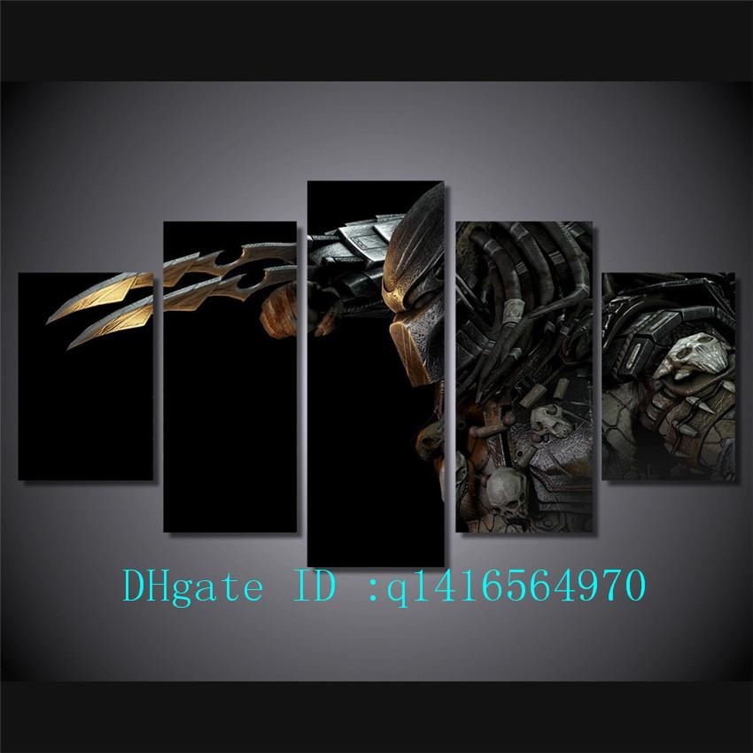 Predator Alien,5 Pieces Canvas Prints Wall Art Oil Painting Home Decor /(Unframed/Framed)