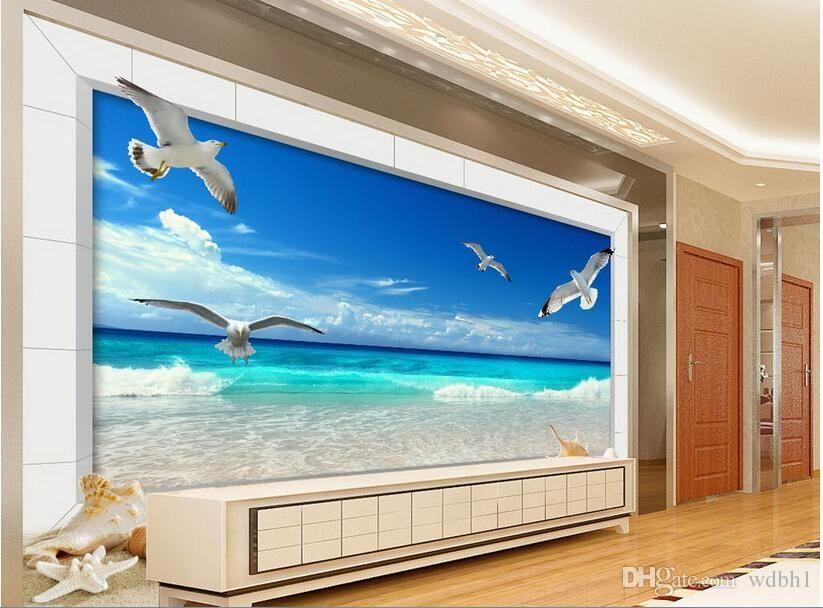 3d papier peint personnalisé photo murale Dreamy plage mouette tv fond mur salon décoration de la maison 3d peintures murales papier peint pour murs 3 d