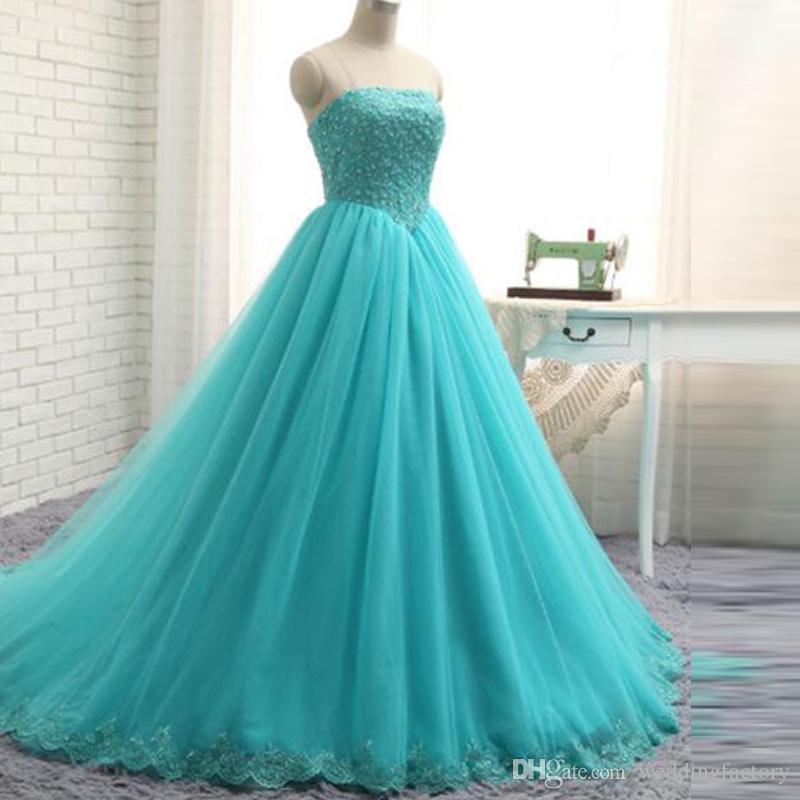 아쿠아 블루 플러스 사이즈 정장 드레스 끈 민소매 파란색 레이스 아플리케 얇은 명주 그물 이브닝 가운 코르셋 다시 성인식 댄스 파티 드레스