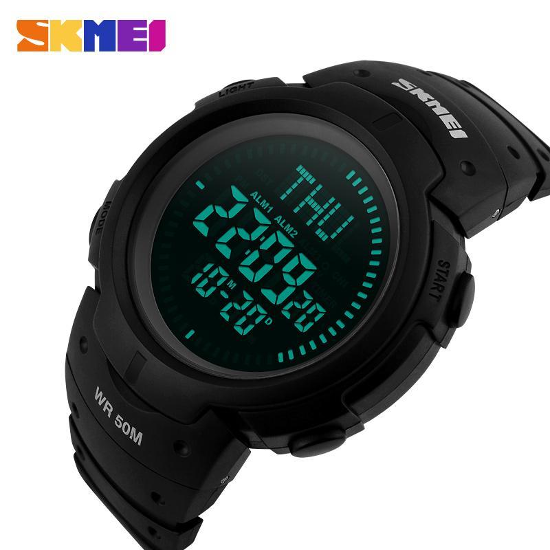 Skmei hombres al aire libre brújula relojes deportivos senderismo LED reloj digital electrónico hombre cronógrafo relojes de pulsera Relogio Masculino
