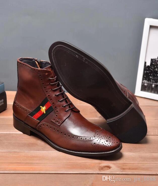 Business Echtem Designer Herren Luxus Kleid Für Italienische Großhandel Stiefeletten Handgefertigt Braun Stiefel Leder Schwarz Aus P0Oknw