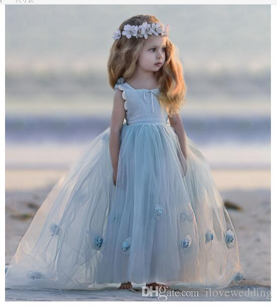 2018 Lovely light sky blue Flower Girl Dresses ball gown sleveless elegant Tulle Little Girls' Pageant Gowns custom made little girl dresses