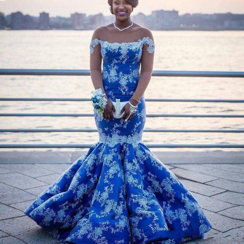 Favoloso Royal Blue Prom Dresses Sexy Plus Size Sirena Appliques in pizzo maniche lunghe Abiti da sera glamour sudafricani abiti da cerimonia
