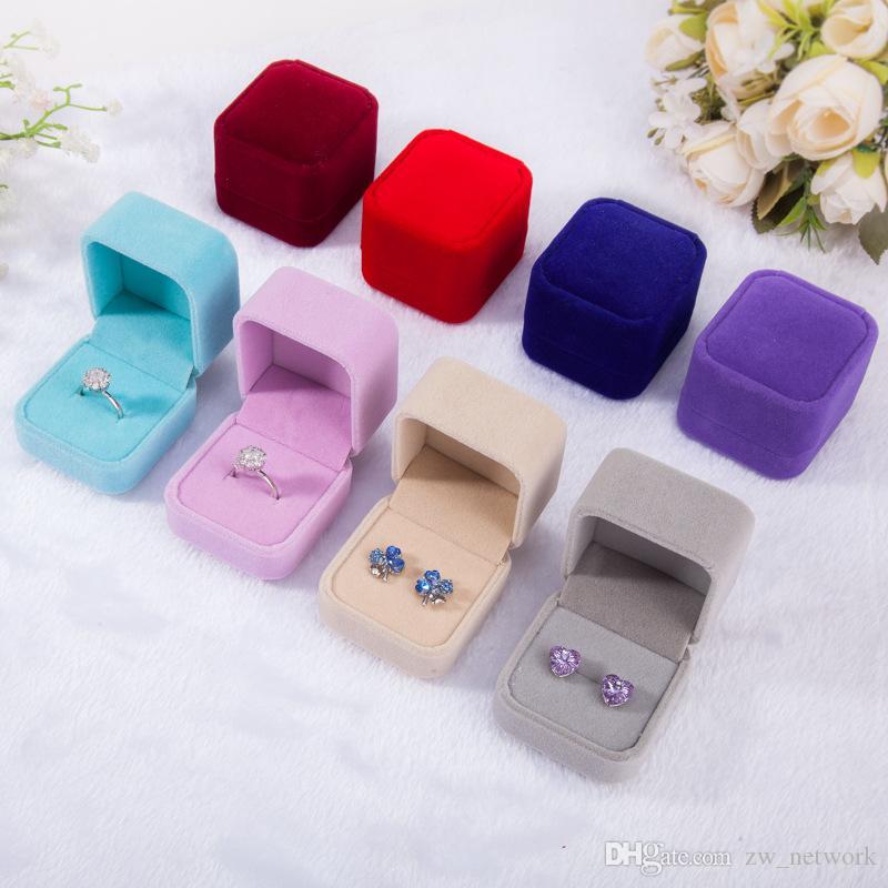 Flanella High-end scatole di gioielli Orecchini di velluto Anello scatola distintivo casi di gioielli di buona qualità scatola di anelli di nozze nero blu grigio multicolore