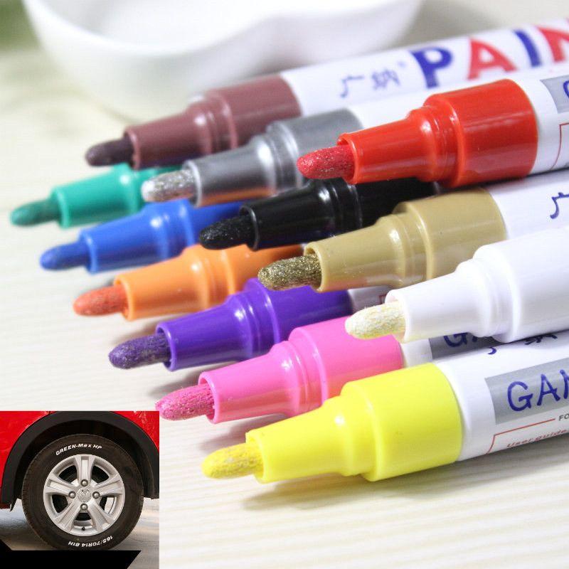 12 adet / grup renkli Su Geçirmez kalem Araba Lastik Lastik Sırtı Metal Kalıcı Boya belirteçleri Grafiti Yağlı Işaretleyici Kalem kırtasiye