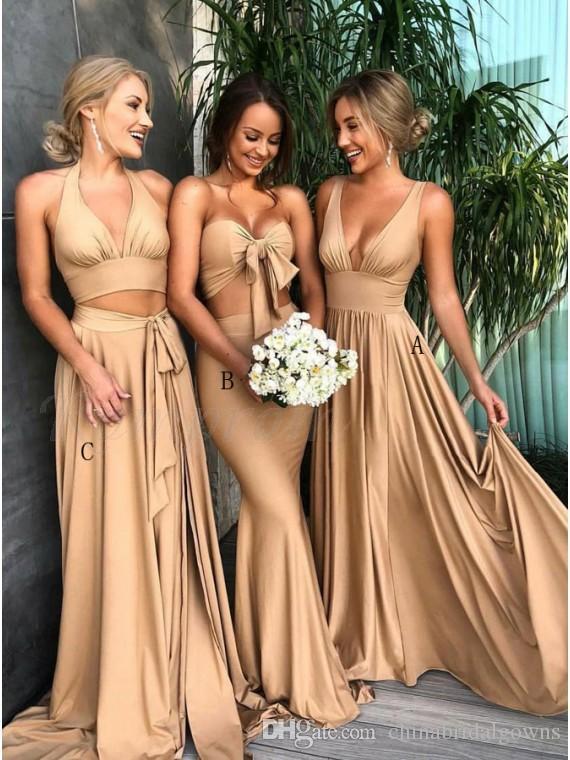 242ac2e21 2018 oro rosa brillante vestidos de dama de honor largo estilo mixto venta  caliente satén spandex